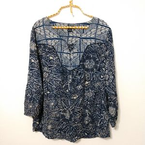 Lucky Brand floral print blouse size XL